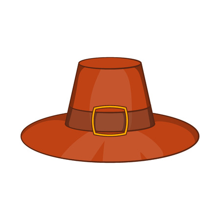 Piligrim hat icon in cartoon style isolated on white background vector illustration