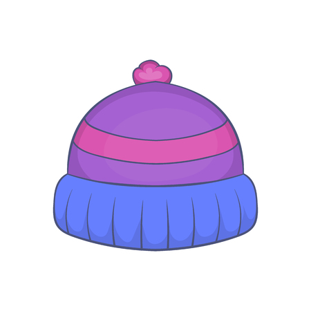 Winter knitted hat with pompon icon in cartoon style isolated on white background vector illustration