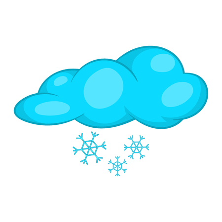 hailstorm: Snow and cloud icon in cartoon style isolated on white background vector illustration Illustration