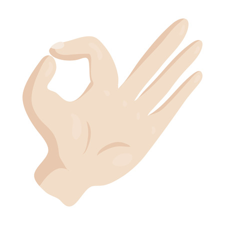 OK hand sign icon in cartoon style isolated on white background vector illustration