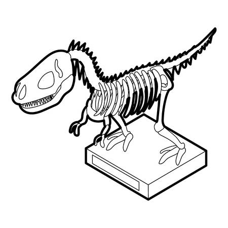 Dinosaur skeleton icon in outline style on a white background vector illustration