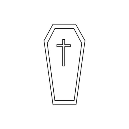christian halloween: Halloween coffin icon. Outline illustration of coffin vector icon for web design Illustration