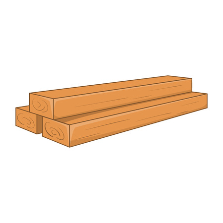 piece of furniture: Timber planks icon. Cartoon illustration of planks vector icon for web design