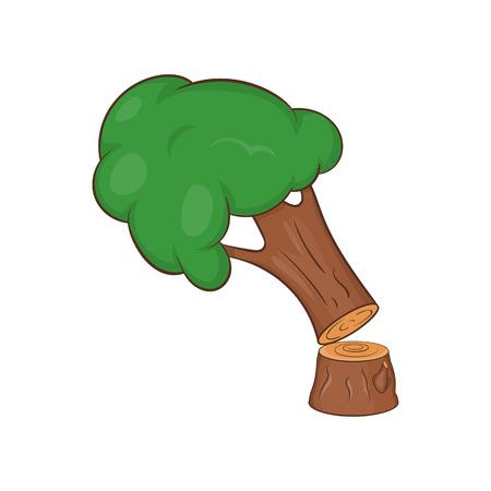 Felled tree icon. Cartoon illustration of tree vector icon for web design Illustration