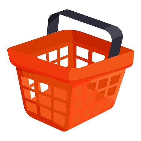 Shopping basket icon. Cartoon illustration of shopping basket vector icon for web.