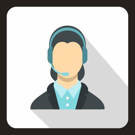 call centre girl: Call center operator icon. Flat illustration of call center operator vector icon for web.