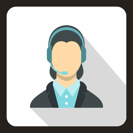 Call center operator icon. Flat illustration of call center operator vector icon for web.