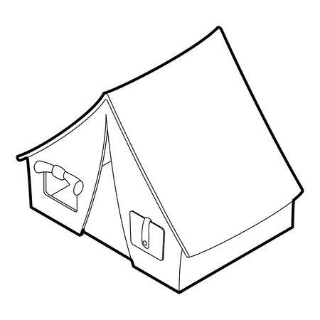 weekend activities: Tent icon. Outline isometric illustration of tent vector icon for web. Illustration