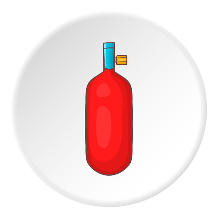 compressed air: Oxygen cylinder icon. Cartoon illustration of oxygen cylinder vector icon for web