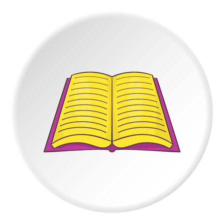 Open book with text icon. Cartoon illustration of open book with text vector icon for web Illustration