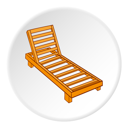 brolly: Wooden chaise lounge icon. Cartoon illustration of wooden chaise lounge vector icon for web Illustration