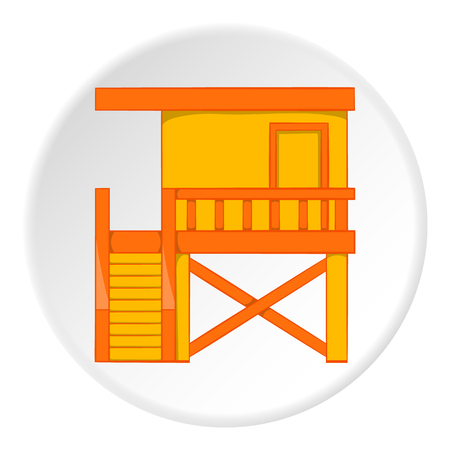 coast guard: Rescue booth on beach icon. Cartoon illustration of rescue booth on beach vector icon for web Illustration