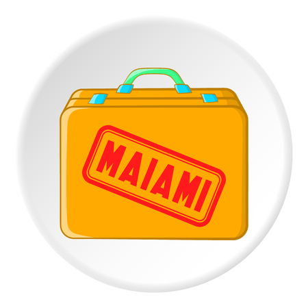 Suitcase for flight to Miami icon. Cartoon illustration of suitcase for flight to Miami vector icon for web