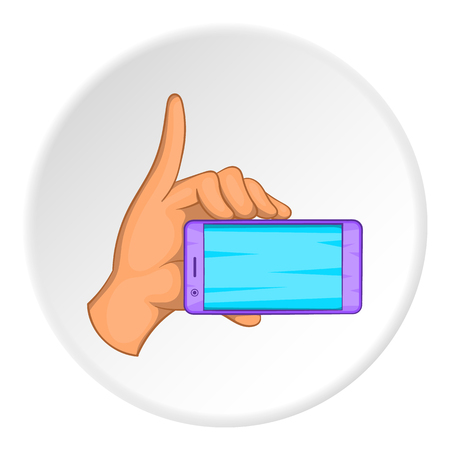 cellphone in hand: Smartphone in hand icon. Cartoon illustration of smartphone in hand vector icon for web