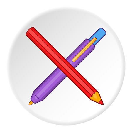 Pencil and pen icon. Cartoon illustration of pencil and pen vector icon for web