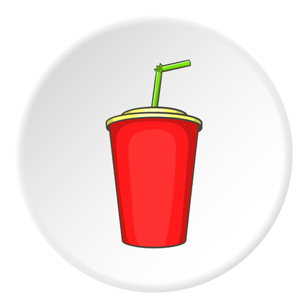 plastic straw: Plastic cup with straw icon. Cartoon illustration of plastic cup with straw vector icon for web