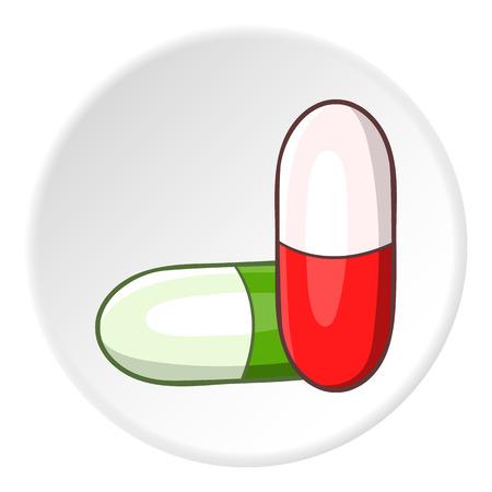 capsules: Medicinal capsules icon. Cartoon illustration of medicinal capsules vector icon for web Illustration