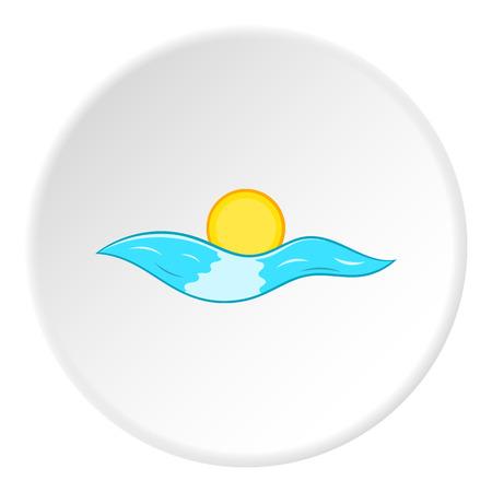 Sea and sun icon. Cartoon illustration of sea and sun vector icon for web Illustration