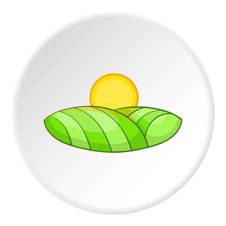 Field and sun icon. Cartoon illustration of field and sun vector icon for web
