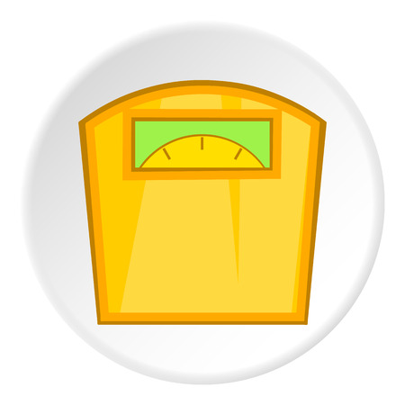 calibrate: Yellow scales icon. Cartoon illustration of yellow scales vector icon for web