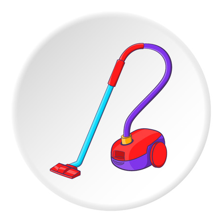 hoover: Vacuum cleaner icon. Cartoon illustration of vacuum cleaner vector icon for web