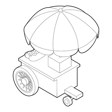 Counter on wheels with umbrella icon Outline illustration of counter on wheels vector icon for web