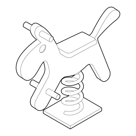 see saw: Horse spring see saw icon. Outline illustration of horse spring vector icon for web Illustration