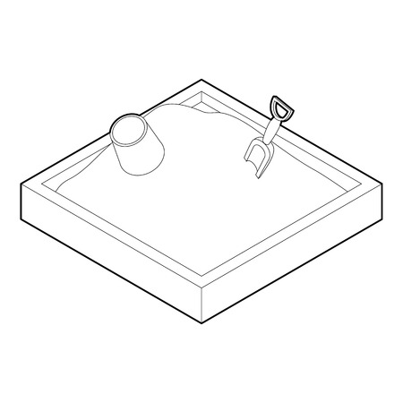 sandbox: Sandbox icon. Outline illustration of sandbox vector icon for web