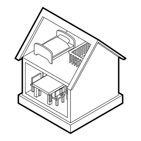 toy house: Toy house icon. Outline illustration of toy house vector icon for web