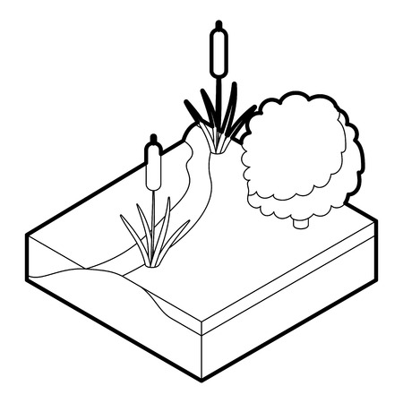 river vector: River icon. Outline illustration of river vector icon for web