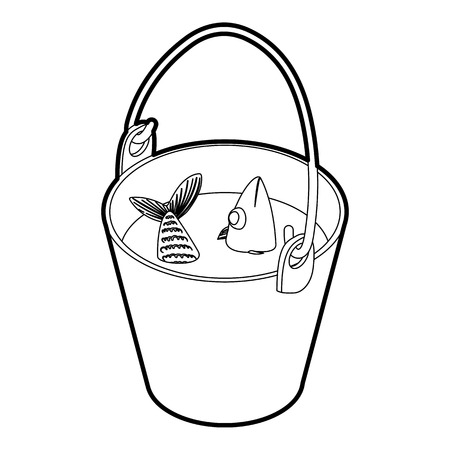 silver perch: Fresh fish in a bucket icon. Outline illustration of vector icon for web