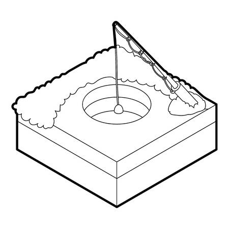 ice fishing: Hole for ice fishing icon. Outline illustration of hole for ice fishing vector icon for web