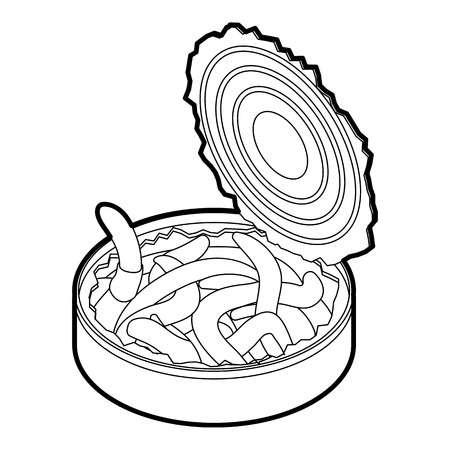 Tin of earthworms icon. Outline illustration of tin of earthworms vector icon for web Illustration