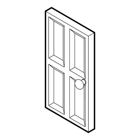 Wooden door icon. Outline illustration of door wooden door vector icon for web