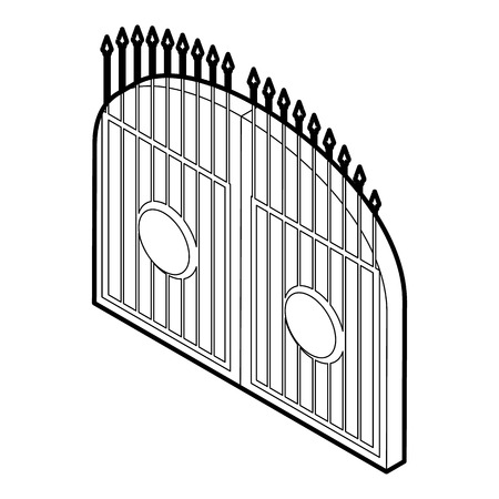victorian fence: Gate icon. Outline illustration of gate vector icon for web