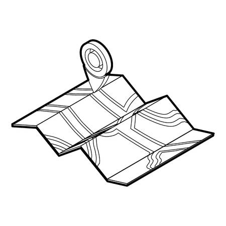 Map icon. Outline illustration of map vector icon for web
