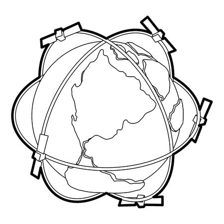 Satellite system around Earth icon. Outline illustration of satellite system around Earth vector icon for web