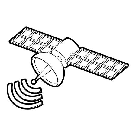 world receiver: Space satellite icon. Outline illustration of space satellite vector icon for web Illustration