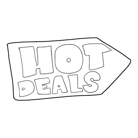 hot deals: Hot deals direction sign icon. Outline illustration of vector icon for web Illustration