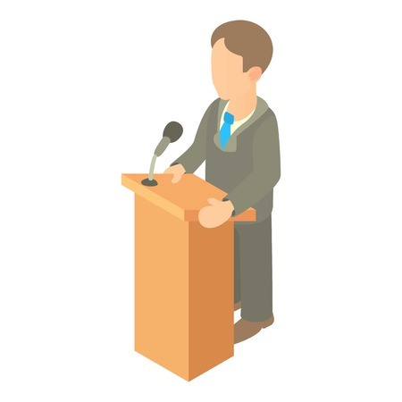 orator: Orator speaking from tribune icon. Cartoon illustration of orator speaking from tribune vector icon for web