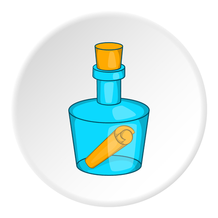 Bottle with letter icon.  illustration of bottle with letter vector icon for web
