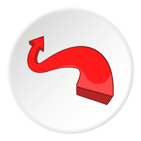Red curved arrow icon. artoon illustration of red curved arrow vector icon for web Illustration