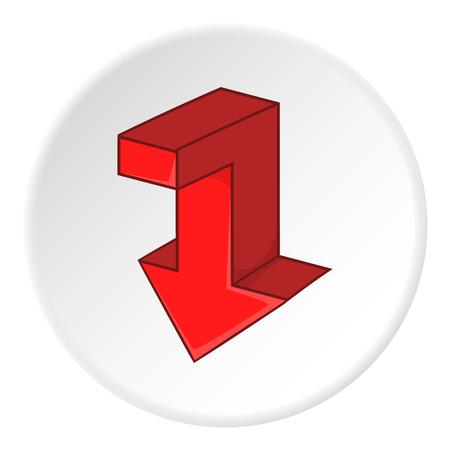 artoon: Red broken arrow down icon. artoon illustration of red broken arrow down vector icon for web Illustration