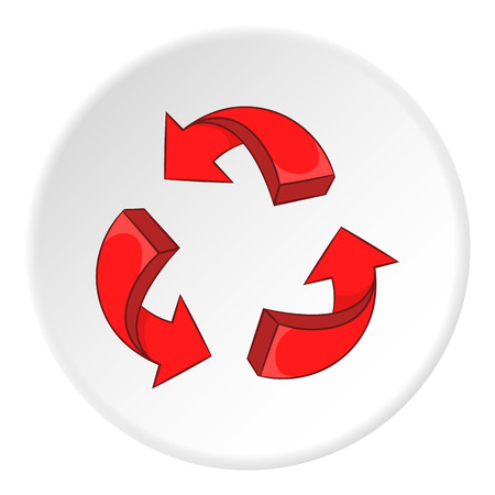 recycling symbol: Red recycling symbol icon.  illustration of red recycling symbol vector icon for web