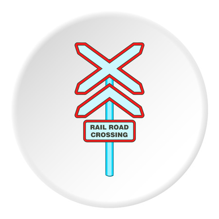 rail yard: Railroad crossing sign icon. artoon illustration of railroad crossing sign vector icon for web Illustration