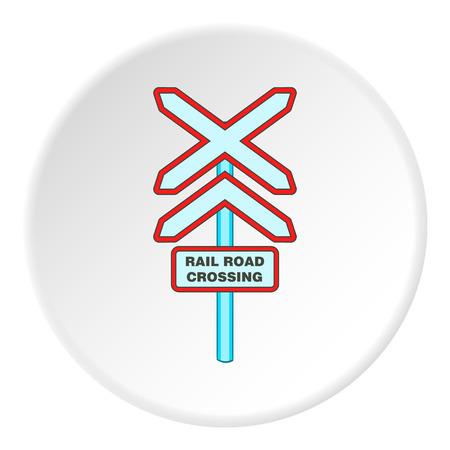 Railroad crossing sign icon. artoon illustration of railroad crossing sign vector icon for web Illustration