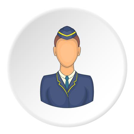 Woman train conductor icon. artoon illustration of woman train conductor vector icon for web