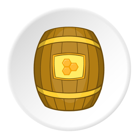 mead: Barrel with honey icon. artoon illustration of barrel with honey vector icon for web