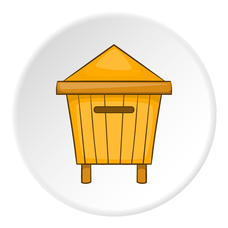 Wooden beehive icon. artoon illustration of wooden beehive vector icon for web