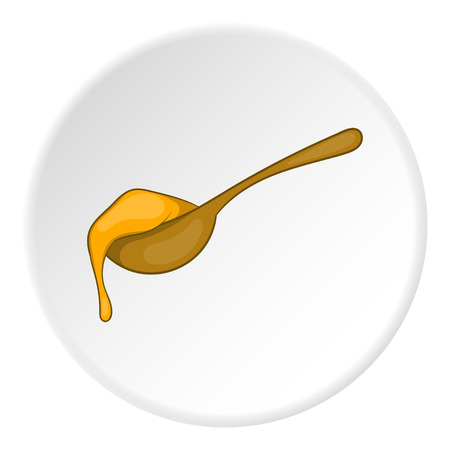 Wooden spoon with honey icon. artoon illustration of wooden spoon vector icon for web